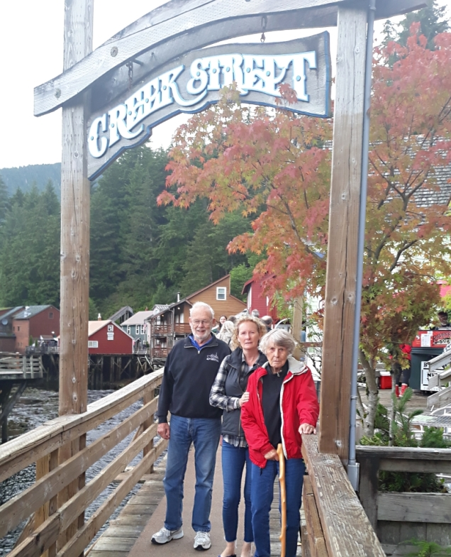 Mom and Dad & Linda heading to Creek Street for some shopping in Ketchikan. If you can work around the cruise ships, the town can be pretty fun.
