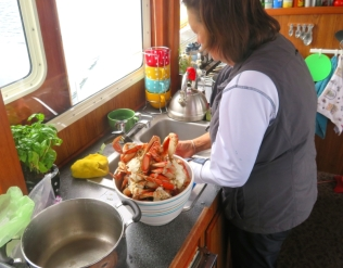 Donna getting the daily ration of crab ready for happy hour.