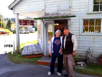 Herb & Lena Carpenter in front of Lena's gift shop. Ocean Falls is basically a ghost town since Crown Zellerbach pulled out in 1980. But many building from the once thriving community remain as wall as a marina for us visitors. Herb is the dockmaster.