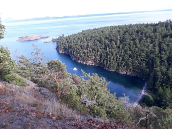 Almost home, Watmough Bay Preserve on Lopez Island in the San Juans. Restless is visible 439' below after our climb of Mt. Chadwick. Beautiful panorama of the Juan de Fuca Strait and Islands from the top.
