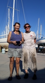 Donna and Suzie (of White Raven) after a day of bottom work in the San Carlos boat yard. Ugly work. Mojitos that night never tasted so good they offered.